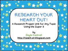 Research Your Heart Out: Research Unit for Any Topic Using Super 3 Student Self Evaluation, Teacher Evaluation, Library Lesson Plans, Library Lessons, Research Skills, Research Projects, Elementary Library, New Words, Teacher Newsletter