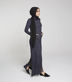 INAYAH | Ash Throw #Shirt Pair with our Black Georgette #Hijab