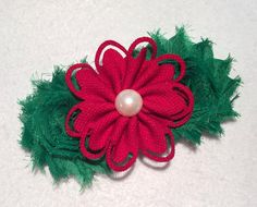 Christmas Hair Bow on French Clip by ItsEspecially4U #christmas #shabby #hair #bow #flower #clip #french #barrette #women #girls #teenagers #gift #boutique #green #red #pearl #shabby