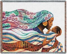 Personalized Loving Embrace Mother & Baby African Culture Tapestry Throw