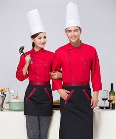 Chef's Long Sleeve Outfit Hotel Chef Uniform Overalls Canteen Restaurant Kitchen Uniform Chef Jackets Chef Clothes with Apron Chef School, Waiter Uniform, Hotel Uniform, Staff Uniforms, Long Sleeve Outfits, Chefs, Fashion Sketches, Chef Clothing, Work Wear