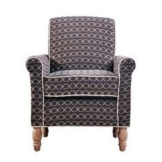 angelo:HOME Harlow Vintage Brown and Blue Moroccan Tile Pattern Chair, Antique Finish