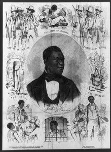 """Fugitive slave Anthony Burns, whose arrest and trial under the Fugitive Slave Act of 1850 touched off riots and protests by abolitionists and citizens of Boston in the spring of 1854.  (Library of Congress) A bust portrait of the twenty-four-year-old Burns, surrounded by scenes from his life.""""Drawn by Barry from a daguereotype [sic] by Whipple and Black."""
