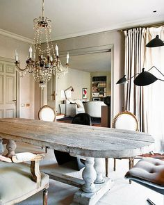 Table, chairs, chandelier