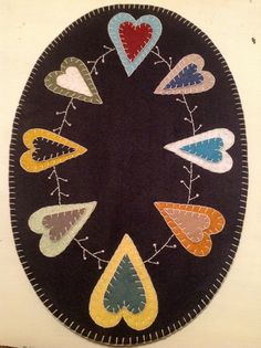 Wool Primitive Penny Rug Candle Mat  Hearts & by CrookedCrowCrafts, $22.00