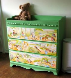 This gorgeous storybook dresser was created using Beatrix Potter paper and Mod Podge. Turn a dresser from drab into fab with this simple tutorial!