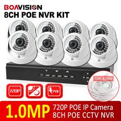 8CH 720P CCTV POE NVR Security KIT Video Output 8PCS Home Indoor 720p CCTV POE IP Camera Security System kit XMEYE P2P BOAVISION
