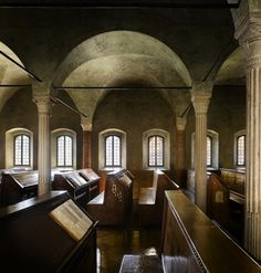 The Biblioteca Malatestiana in Cesena, near Rimini in Northern Italy is without doubt the best-preserved example of what a late Medieval library looked like.