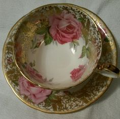vintage tea party AYNSLEY ENGLAND  HAND PAINTED  CUP and SAUCER $499+$20 s/h 4.2017 ebay