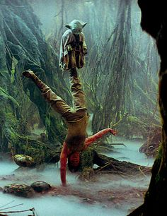Luke Skywalker, Yoda, and a floating rock on the planet Dagobah.
