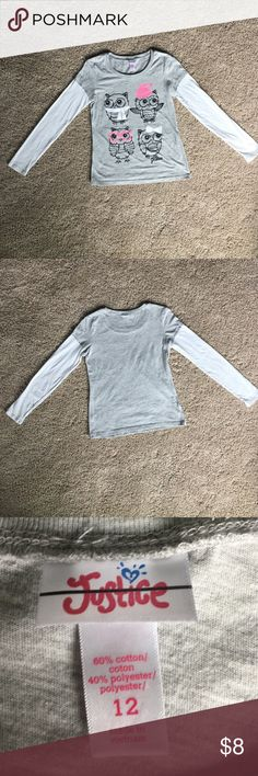 Justice Girl size 12 owl long sleeve shirt Justice Girl size 12 long sleeve adorable owl shirt.  Gray t-shirt with attached white long sleeves, glitter and dot detailing, excellent condition, worn only a few times before my daughter grew out of it. Justice Shirts & Tops Tees - Long Sleeve