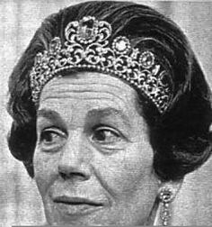 Estelle Bernadotte--wearing a tiara rumoured to have been re-acquired by the Swedish Royal Family.