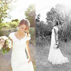 New White Mermaid Bridal Gown Wedding Dress Custom Size 4 6 8 10 12 14 16