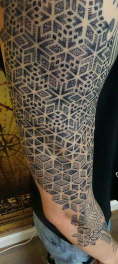 Sleeve geometrical dotted tattoo
