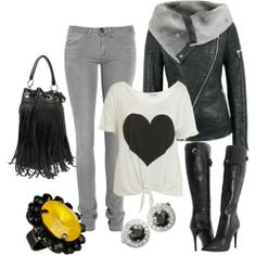 rocker chic.-- is switch out the boots for converses or flatter boots but this look is great!