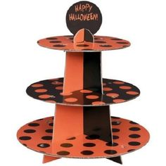 HALLOWEEN CUPCAKE STAND TOWER PARTY BAKING DISPLAY MUFFIN BLACK CENTERPIECE DOTS