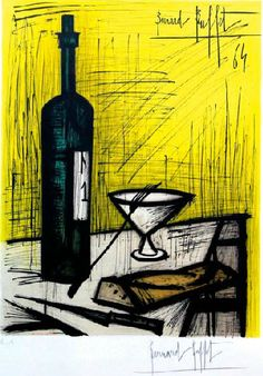 Painting by Bernard Buffet (1928-1999), 1964, The Wine bottle, color lithograph on paper.