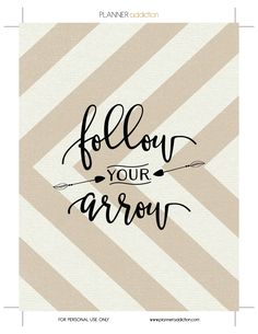 Free Printable Follow Your Arrow Insert & Cover for Happy Planner - Planner Addiction