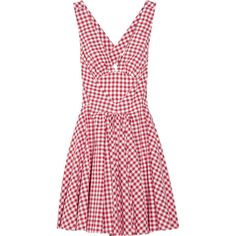 D&G Gingham cotton dress (719.510 COP) ❤ liked on Polyvore featuring dresses, d&g, vestidos, abiti, women, cotton day dresses, red cotton dress, red open back dress, gingham print dress and strap dress
