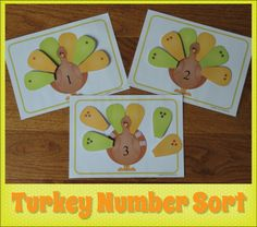 Turkey Number Sort.....a great Thanksgiving counting activity for preschool, pre-k and busy bags.