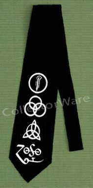 LED ZEPPELIN 4 Symbols logo CUSTOM ART UNIQUE TIE   Each necktie is individually hand-painted, a true and unique work of art indeed!  To order this, or design your own custom tie, please contact us at info@collectorware.com, or visit http://www.collectorware.com/neckties-ledzeppelin_andrelated.htm
