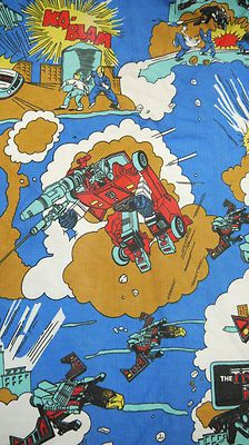 Vintage 70s 80s Tranformers Boys Bedroom Fabric Pair Curtains