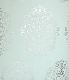 Zecca Wallpaper Aqua wallpaper with large medallion in silver metallic