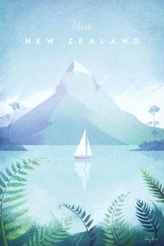 New Zealand Vintage Travel Poster | Art prints available from Travel Poster Co. #vintageposters