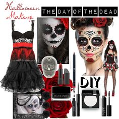 """""""DIY Halloween Makeup: Day of the Dead"""" by juliawood on Polyvore Halloween Costumes 2014, Diy Halloween, Halloween Themes, Holidays Halloween, Happy Halloween, Halloween Decorations, Sugar Skull Costume, Day Of The Dead Party, Dead Makeup"""