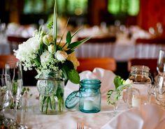 mason jars white flower centerpieces wedding reception.jpg (623×491)