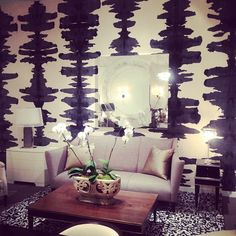 Spotted this Stunning, Abstract, Rorshachesque Porter Teleo Wallpaper while Shopping for Clients #designhouston #design Hand Painted Wallpaper, Fabric Wallpaper, Of Wallpaper, Pattern Wallpaper, Eclectic Wallpaper, Wallpaper Ideas, Textures Patterns, Wall Textures, Wall Treatments