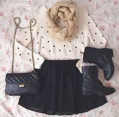 boots     fashion     love     outfit     skirt     spring     sweater     winter