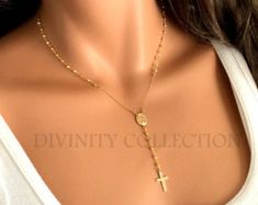 Rosary Necklace High Quality Gold Filled Pyrite Gemstone Rosaries Women Gift Spiritual Jewelry Catholic Christian Cross Necklaces