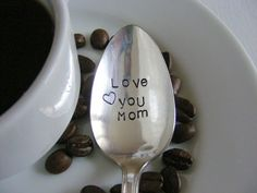 Love You Mom Coffee Spoon Hand Stamped Spoon by BabyPuppyDesigns, $12.00