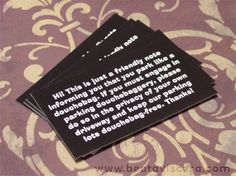 Bad Parking Cards - great idea!