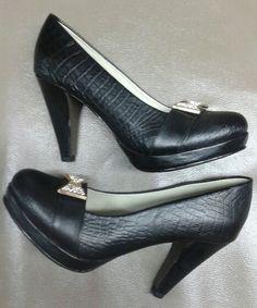 Zapatos en cuero Negro Gravado