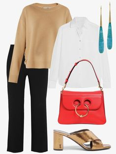 A camel sweater with a white shirt and black pants is a safe, traditional combination that always looks fantastic, but when I want to kick it up a notch and add a little personality, I'll toss on a fun pair of shoes and a colorful bag, like this versatile beauty in bright red.