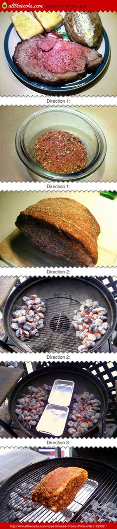 """Smoked Creole Prime Rib! 5.00 stars, 3 reviews. """"The blending of the seasoning and smoke made a mouth watering dinner."""" @allthecooks #recipe #beef #rib #easy #meat #prime"""