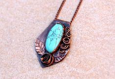Turquoise necklace Boho Copper turquoise by AfroditaFashion