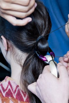 Close-up on the #hair at @Missoni #SS14, crafted by Eugene Souleiman. #mfw