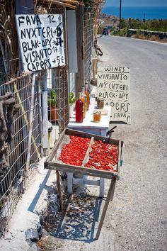 Roadside Food Stall in Santorini