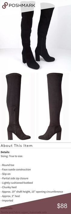 Steve Madden over the knee black faux suede boots Brand new in box. Size 8. Please see the third picture for additional details. The last picture is not the exact boots but very similar (just wanted to give you an idea of what they look like on). Super cute and stylish black stretchy over the knee boots. So versatile! Steve Madden over the knee black faux suede boots. Steve Madden Shoes Over the Knee Boots