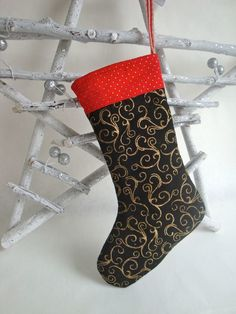 f5cadf6bac SALE Small Cotton Christmas Stocking - Black and gold Christmas Stocking