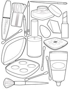 Makeup and Beauty Kit Coloring Sheets for Your Little Princess - Coloring Pages Blank Coloring Pages, Coloring Pages For Girls, Printable Coloring Pages, Coloring Sheets, Coloring Books, Free Makeup, Makeup Kit, Barbie Makeup, Coloring Pictures For Kids