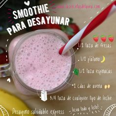 #desayunosaludable Breakfast Smoothies, Health Breakfast, Healthy Snacks, Healthy Juices, Healthy Drinks, Healthy Eating, Healthy Recipes, Healthy Smoothies, Smoothie Recipes