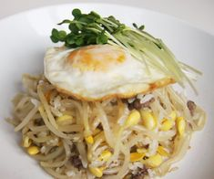 Flavorful Korean Soybean Sprouts/ground beef or mushrooms/egg/rice dish