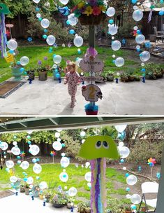 Baby Shark Party: Party decorations - Welcome Sign, Jelly Fish and balloons.