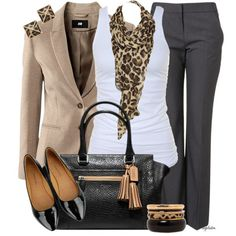 Perfect Work Wear- Tan Blazer,  White Tank,  Leopard Scarf, Black Dress Pants, Black Patent Heels, Black Purse Finished Off With Black, Leopard And Gold Bangles With Leopard Earrings.. ??