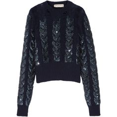 Emilio Pucci Distressed sequin-embellished cable-knit wool sweater ($2,270) ❤ liked on Polyvore featuring tops, sweaters, navy, cable sweater, chunky cable knit sweater, sequin sweater, cable-knit sweater and cable knit sweater