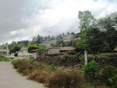 Ziquítaro. Otra vista del barrio del Chorro. Hacia la derecha, al fondo, el Cerrito de la Santa Cruz, ahora barrio tambi[en. En primer término, cercados tradicionales.